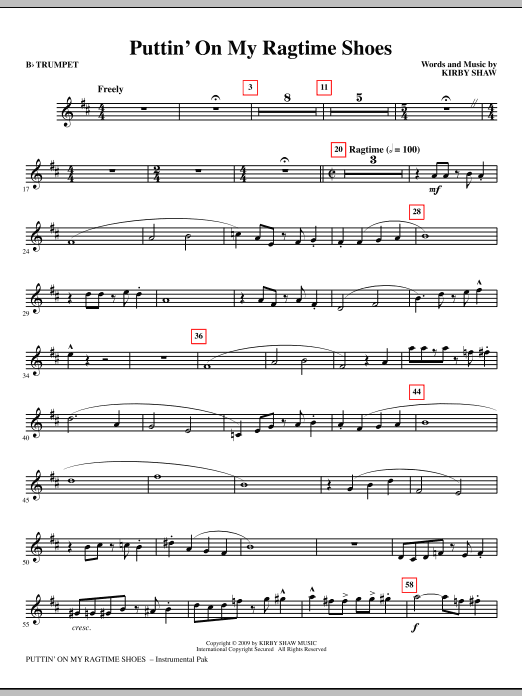 Kirby Shaw Puttin' On My Ragtime Shoes - Bb Trumpet sheet music notes and chords. Download Printable PDF.
