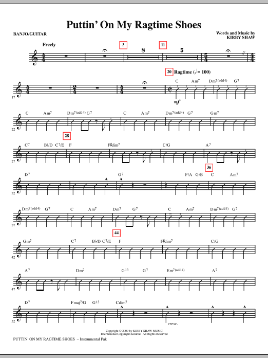 Kirby Shaw Puttin' On My Ragtime Shoes - Guitar/Banjo sheet music notes and chords. Download Printable PDF.