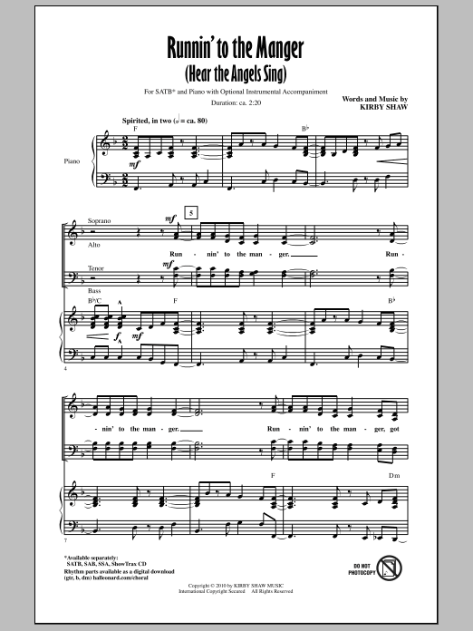 Kirby Shaw Runnin' To The Manger (Hear The Angels Sing) sheet music notes and chords. Download Printable PDF.