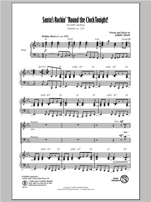 Kirby Shaw Santa's Rockin' 'Round The Clock Tonight! sheet music notes and chords. Download Printable PDF.