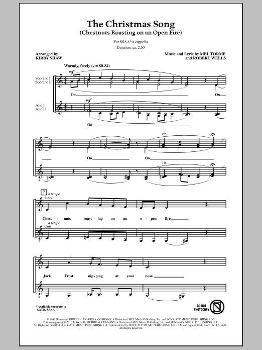 Kirby Shaw The Christmas Song (Chestnuts Roasting On An Open Fire) sheet music notes and chords. Download Printable PDF.