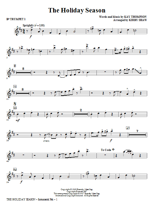 Kirby Shaw The Holiday Season - Bb Trumpet 1 sheet music notes and chords. Download Printable PDF.