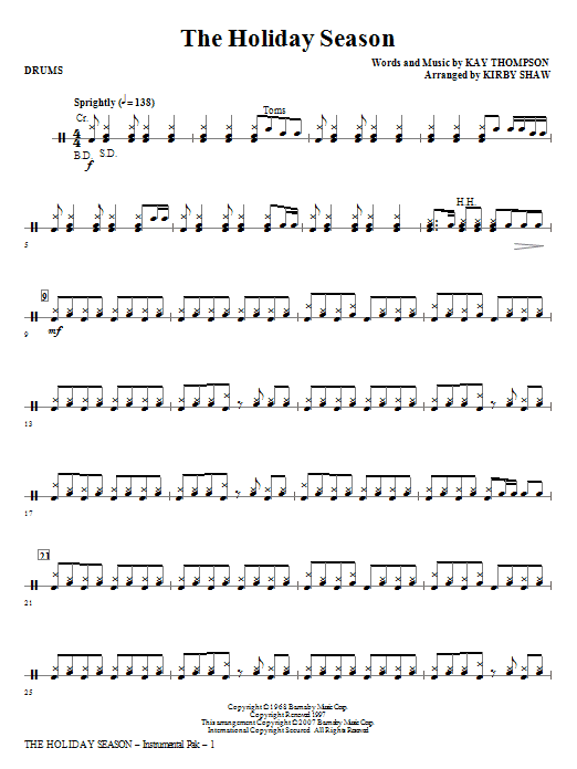 Kirby Shaw The Holiday Season - Drums sheet music notes and chords. Download Printable PDF.