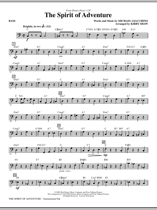 Kirby Shaw The Spirit Of Adventure - Bass sheet music notes and chords. Download Printable PDF.
