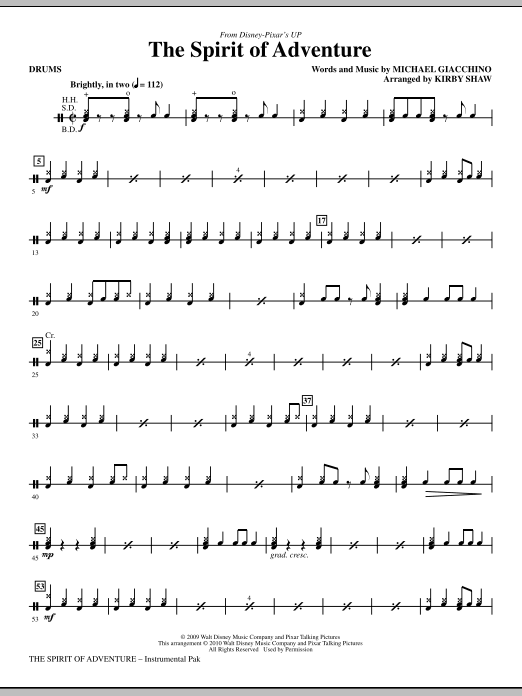 Kirby Shaw The Spirit Of Adventure - Drums sheet music notes and chords. Download Printable PDF.