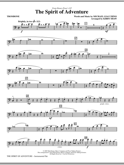 Kirby Shaw The Spirit Of Adventure - Trombone sheet music notes and chords. Download Printable PDF.