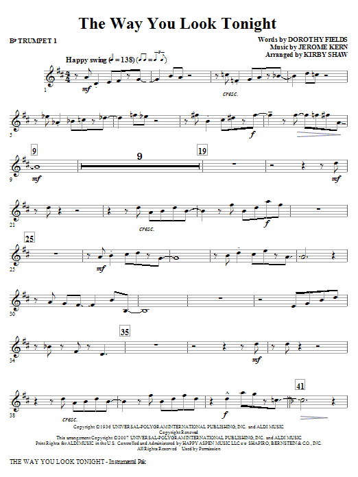 Kirby Shaw The Way You Look Tonight - Bb Trumpet 1 sheet music notes and chords. Download Printable PDF.