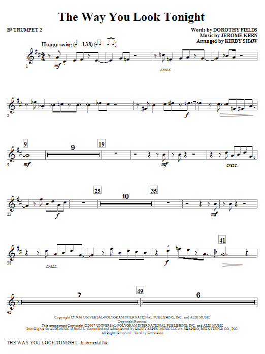 Kirby Shaw The Way You Look Tonight - Bb Trumpet 2 sheet music notes and chords. Download Printable PDF.