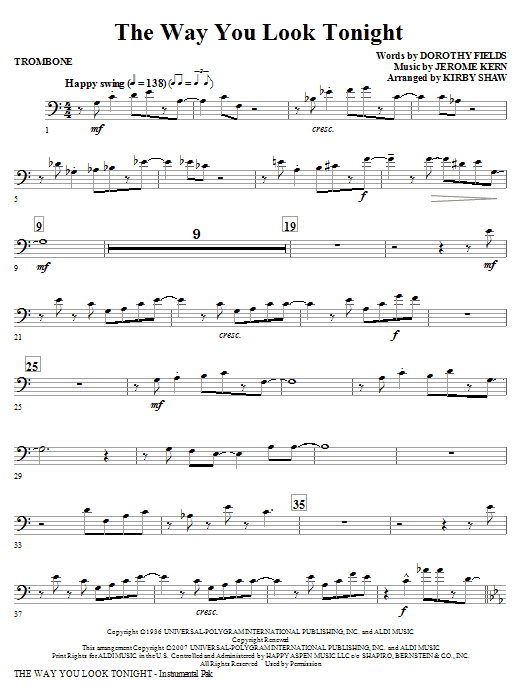 Kirby Shaw The Way You Look Tonight - Trombone sheet music notes and chords. Download Printable PDF.