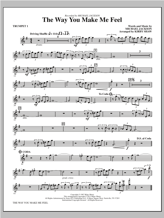 Kirby Shaw The Way You Make Me Feel - Bb Trumpet 1 sheet music notes and chords. Download Printable PDF.