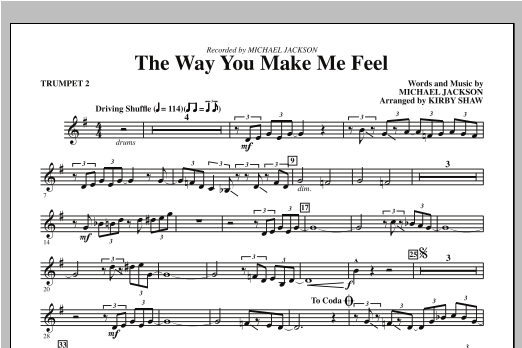 Kirby Shaw The Way You Make Me Feel - Bb Trumpet 2 sheet music notes and chords. Download Printable PDF.