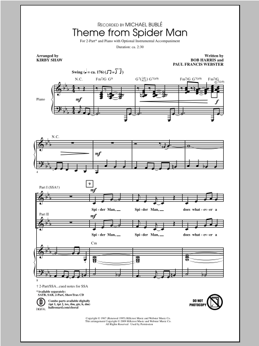 Kirby Shaw Theme From Spider Man sheet music notes and chords