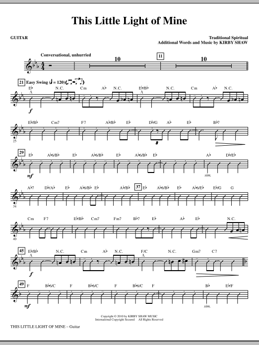 Kirby Shaw This Little Light Of Mine - Guitar sheet music notes and chords. Download Printable PDF.