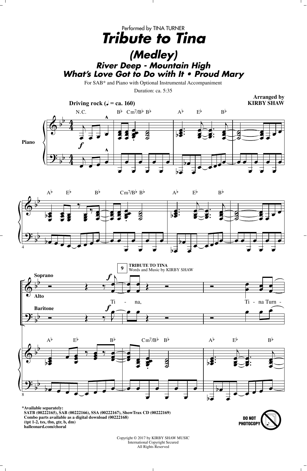 Kirby Shaw Tribute to Tina sheet music notes and chords. Download Printable PDF.