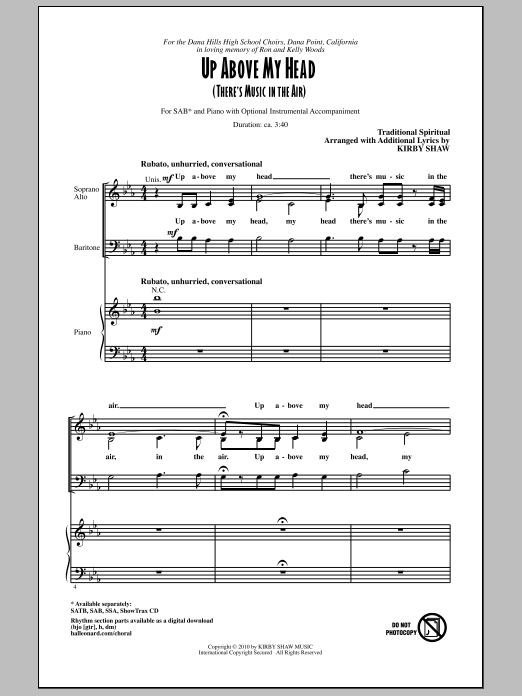 Kirby Shaw Up Above My Head (There's Music In The Air) sheet music notes and chords. Download Printable PDF.