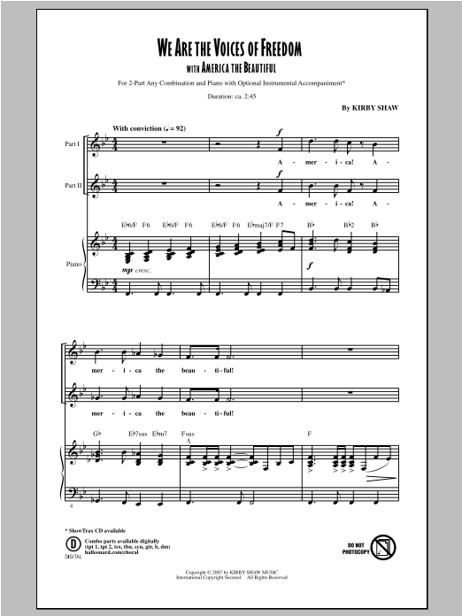 Kirby Shaw We Are The Voices of Freedom sheet music notes and chords. Download Printable PDF.