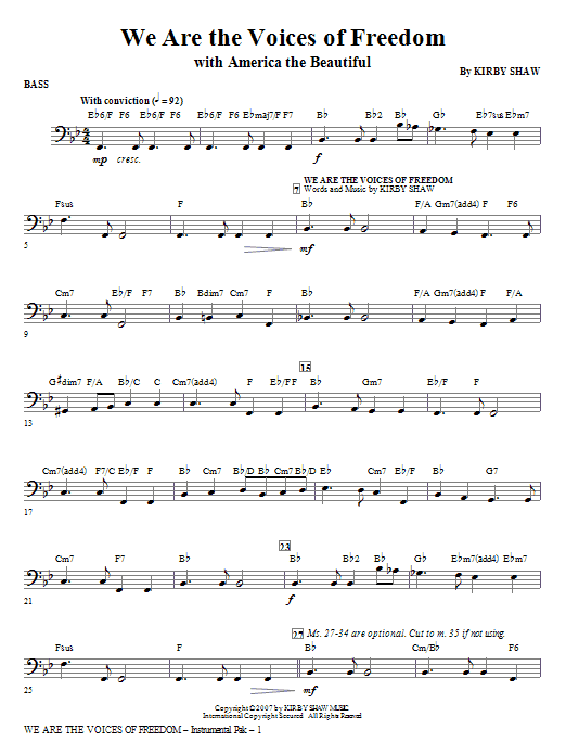 Kirby Shaw We Are The Voices Of Freedom - Bass sheet music notes and chords. Download Printable PDF.