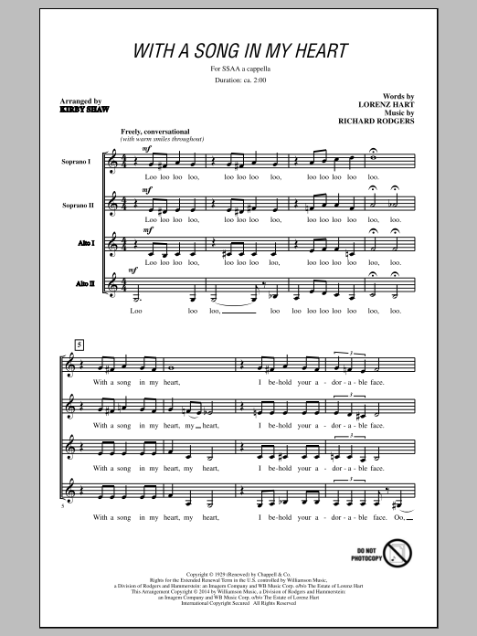 Rodgers & Hart With A Song In My Heart (arr. Kirby Shaw) sheet music notes and chords. Download Printable PDF.