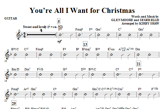 Kirby Shaw You're All I Want for Christmas - Guitar sheet music notes and chords. Download Printable PDF.