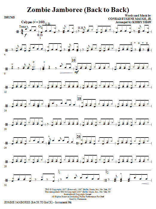Kirby Shaw Zombie Jamboree (Back To Back) - Drums sheet music notes and chords. Download Printable PDF.
