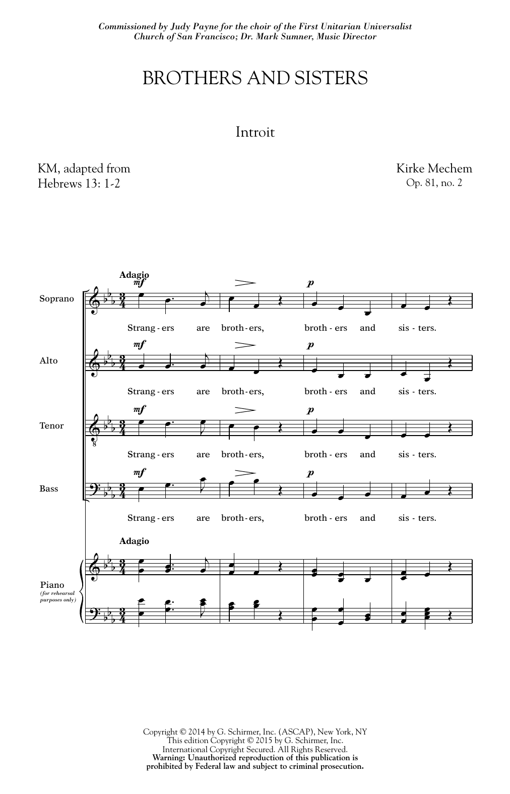 Kirke Mechem Brothers And Sisters sheet music notes and chords. Download Printable PDF.