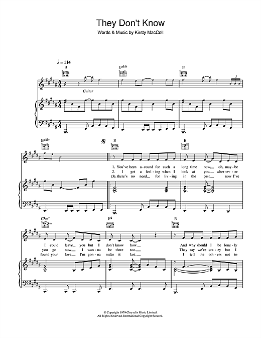 Kirsty MacColl They Don't Know sheet music notes and chords. Download Printable PDF.