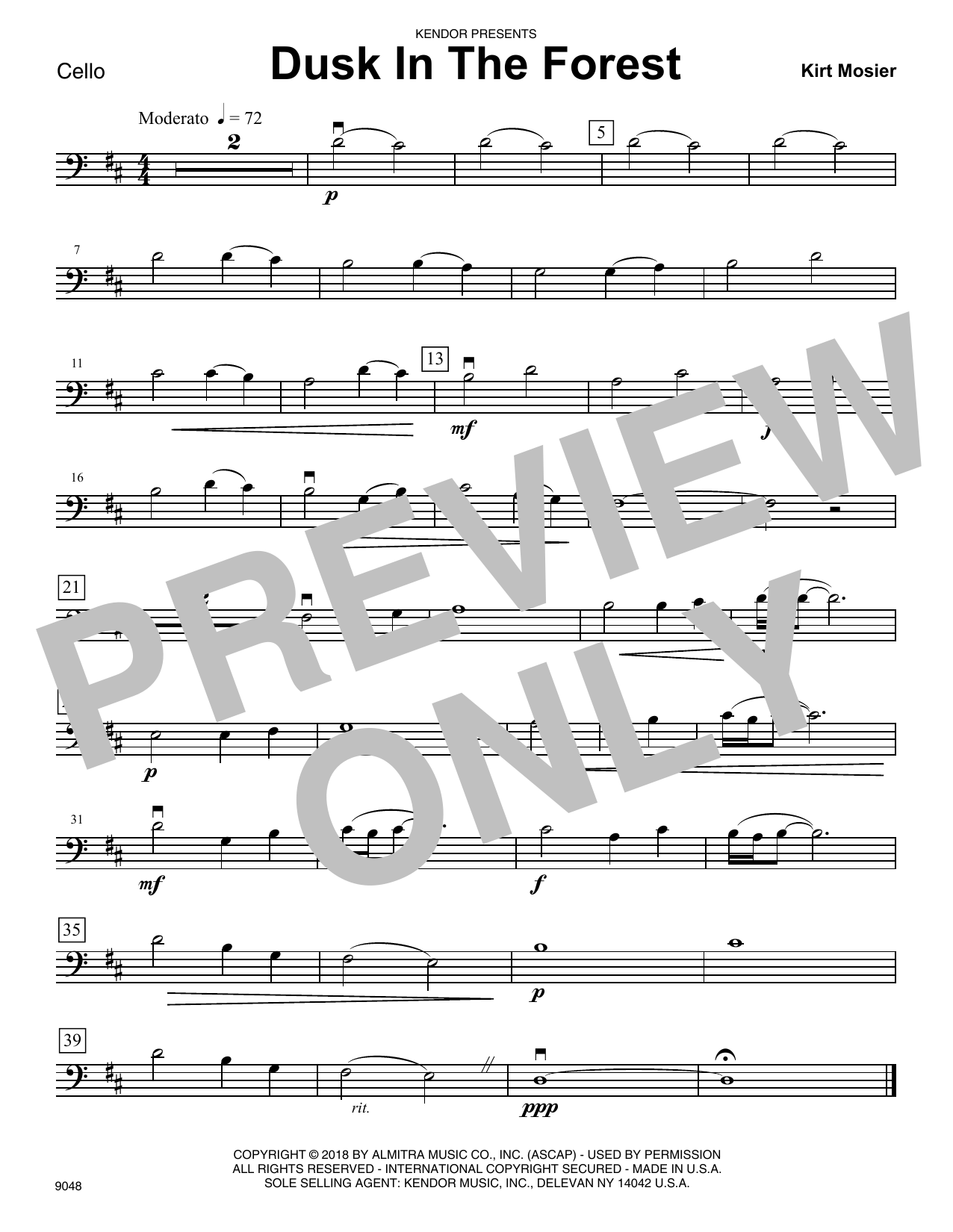 Kirt Mosier Dusk In The Forest - Cello sheet music notes and chords. Download Printable PDF.