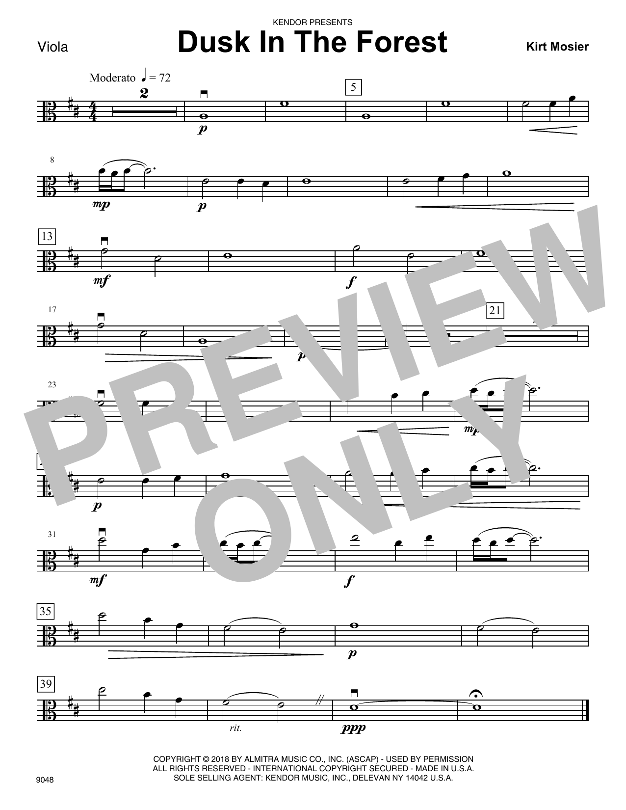Kirt Mosier Dusk In The Forest - Viola sheet music notes and chords. Download Printable PDF.