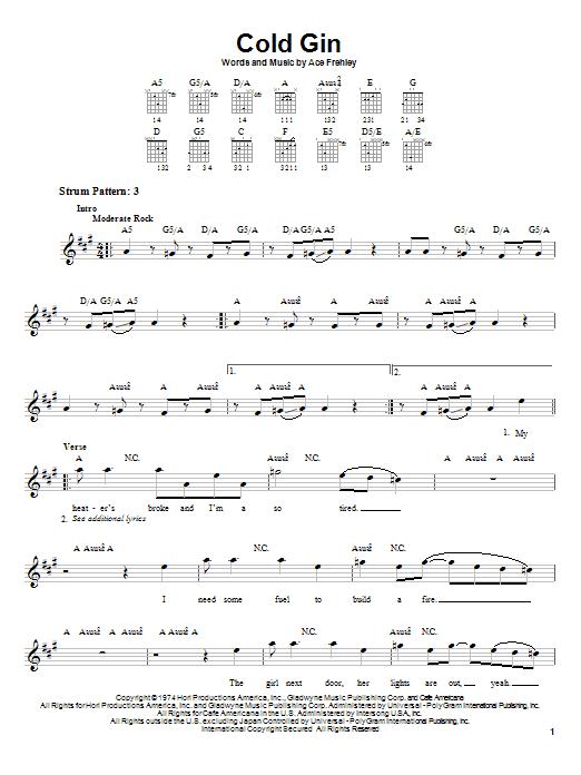 KISS Cold Gin sheet music notes and chords