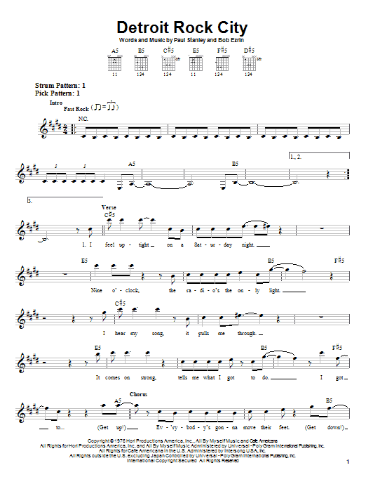 KISS Detroit Rock City sheet music notes and chords. Download Printable PDF.
