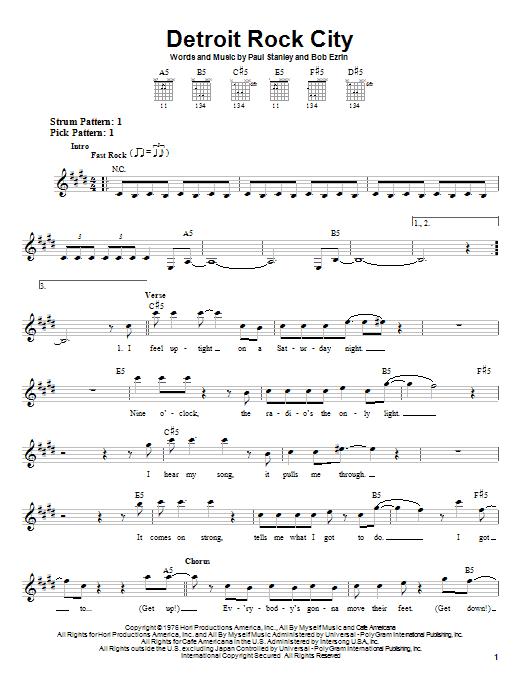 KISS Detroit Rock City sheet music notes and chords. Download Printable PDF.