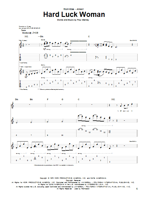 KISS Hard Luck Woman sheet music notes and chords. Download Printable PDF.