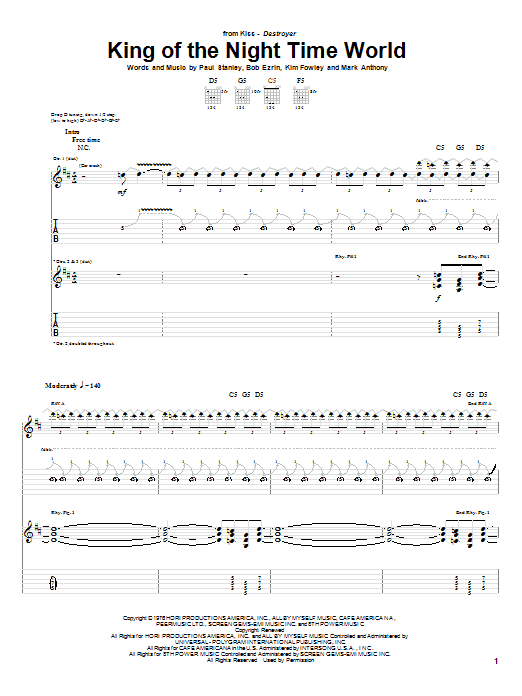 KISS King Of The Night Time World sheet music notes and chords. Download Printable PDF.