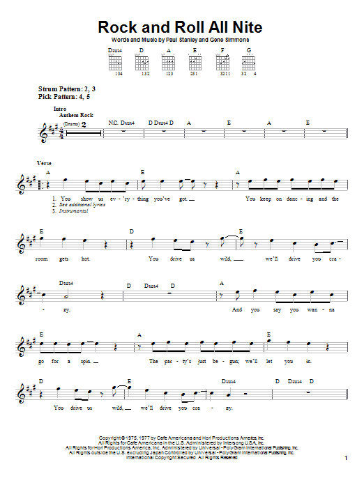 KISS Rock And Roll All Nite sheet music notes and chords