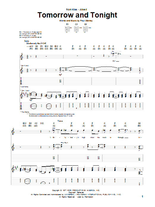 KISS Tomorrow And Tonight sheet music notes and chords. Download Printable PDF.