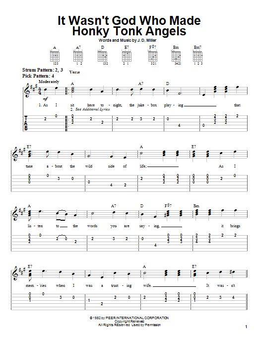 Kitty Wells It Wasn't God Who Made Honky Tonk Angels sheet music notes and chords. Download Printable PDF.