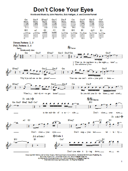 Kix Don't Close Your Eyes sheet music notes and chords