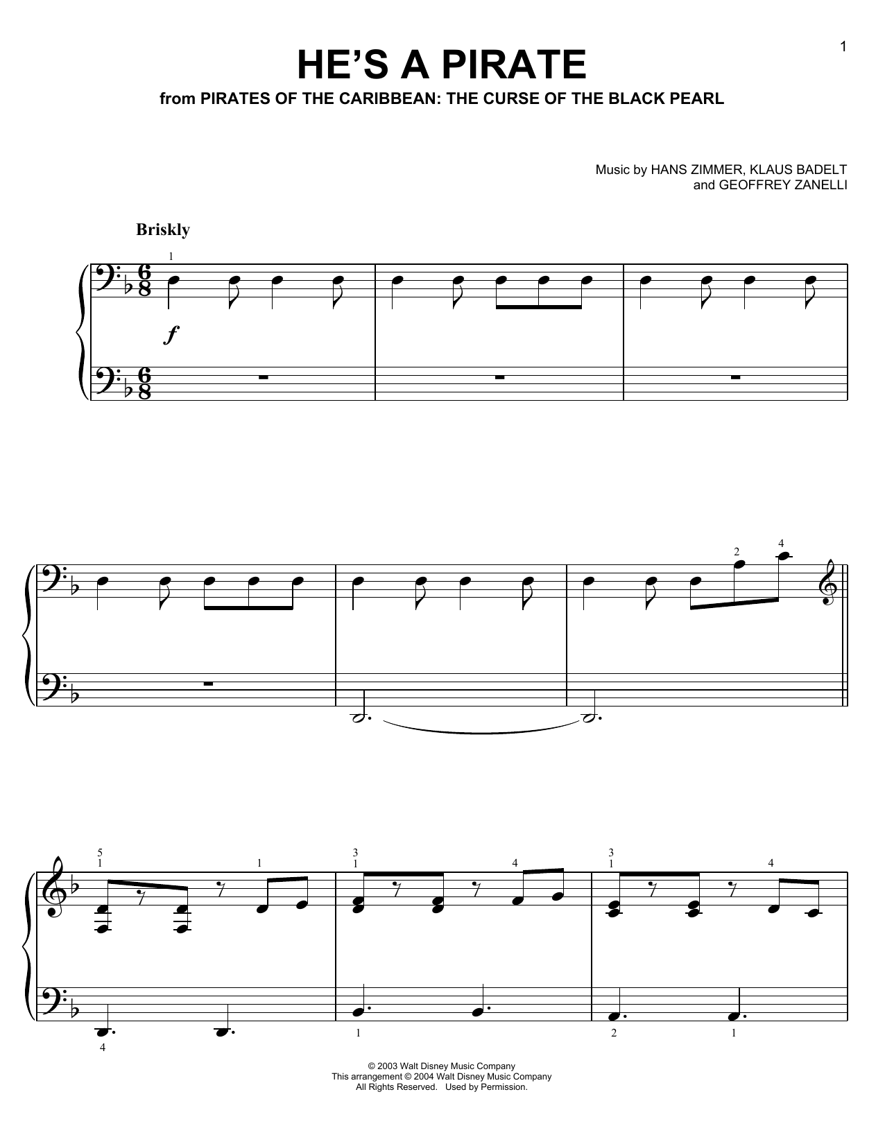 Klaus Badelt He's A Pirate (from Pirates Of The Caribbean: The Curse of the Black Pearl) sheet music notes and chords. Download Printable PDF.