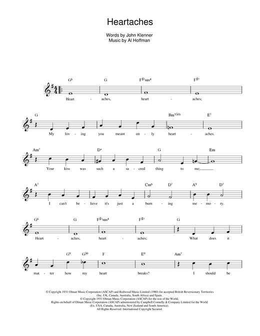 Klenner And Hoffman Heartaches sheet music notes and chords. Download Printable PDF.