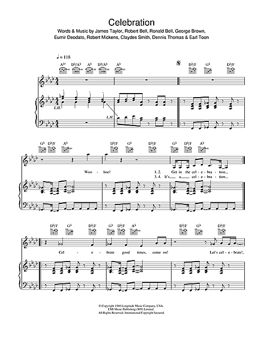 Kool And The Gang Celebration sheet music notes and chords. Download Printable PDF.
