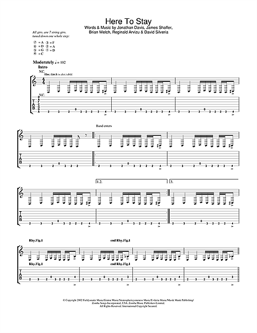 Korn Here To Stay sheet music notes and chords. Download Printable PDF.