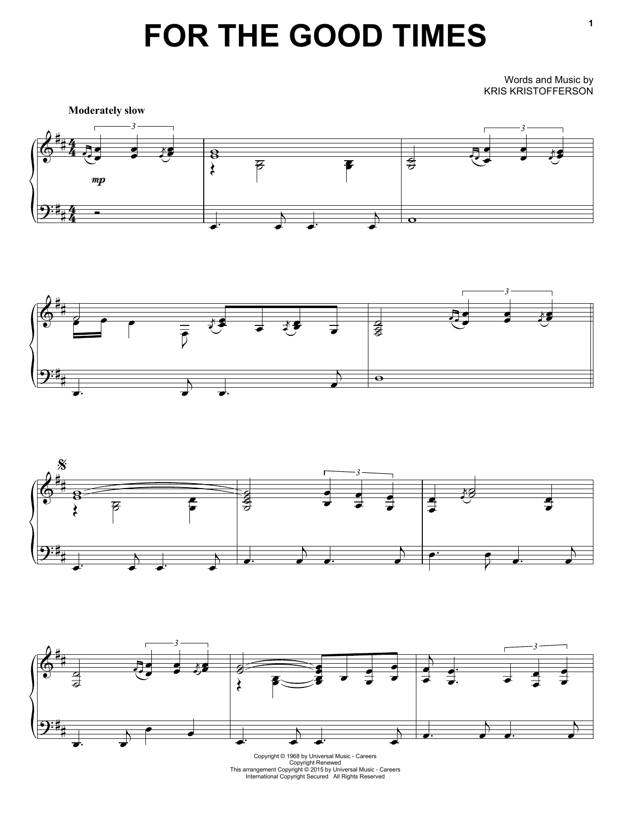 Kris Kristofferson For The Good Times sheet music notes and chords