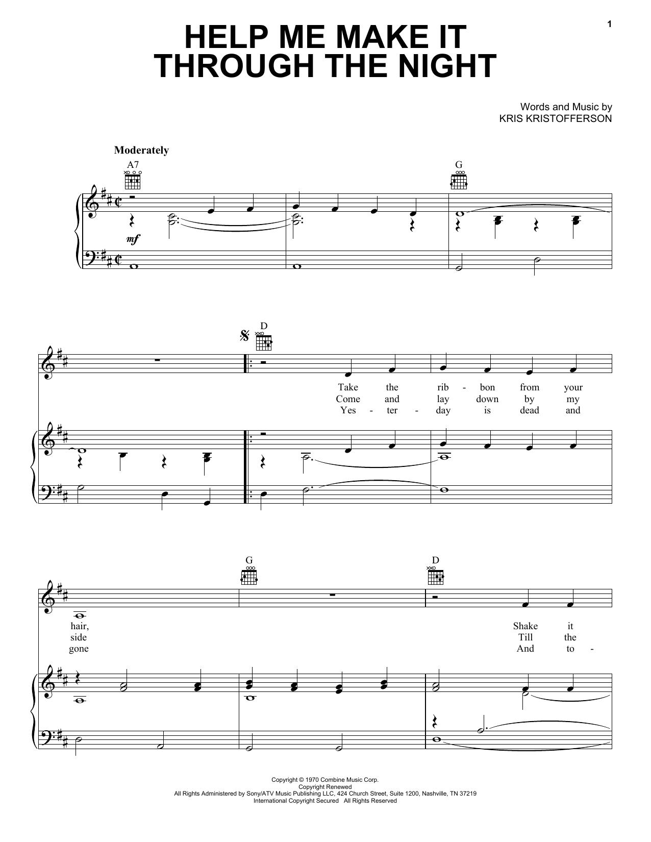 Kris Kristofferson Help Me Make It Through The Night sheet music notes and chords. Download Printable PDF.