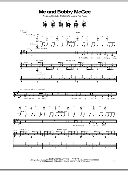 Kris Kristofferson Me And Bobby McGee sheet music notes and chords. Download Printable PDF.