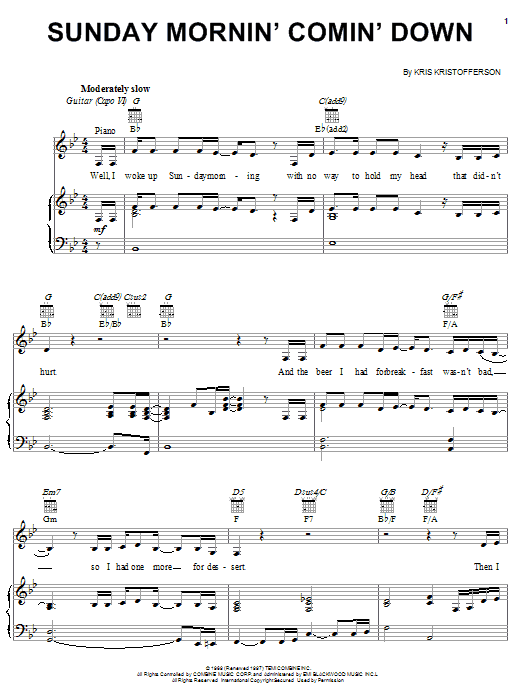 Kris Kristofferson Sunday Mornin' Comin' Down sheet music notes and chords