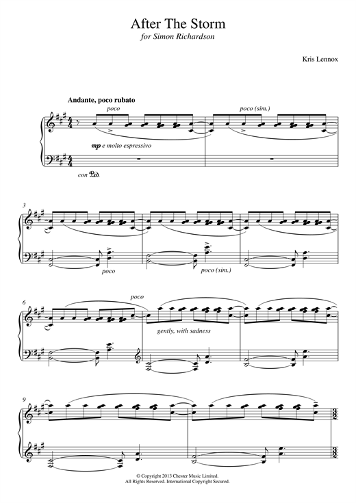 Kris Lennox After The Storm sheet music notes and chords. Download Printable PDF.