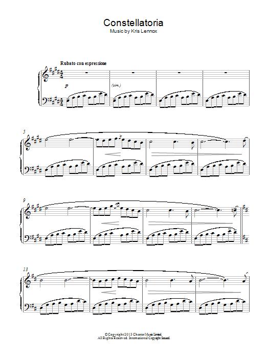 Kris Lennox Constellatoria sheet music notes and chords. Download Printable PDF.