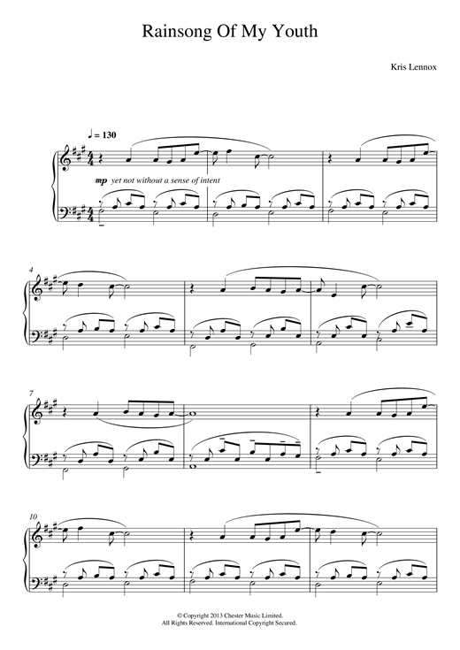 Kris Lennox Rainsong Of My Youth sheet music notes and chords