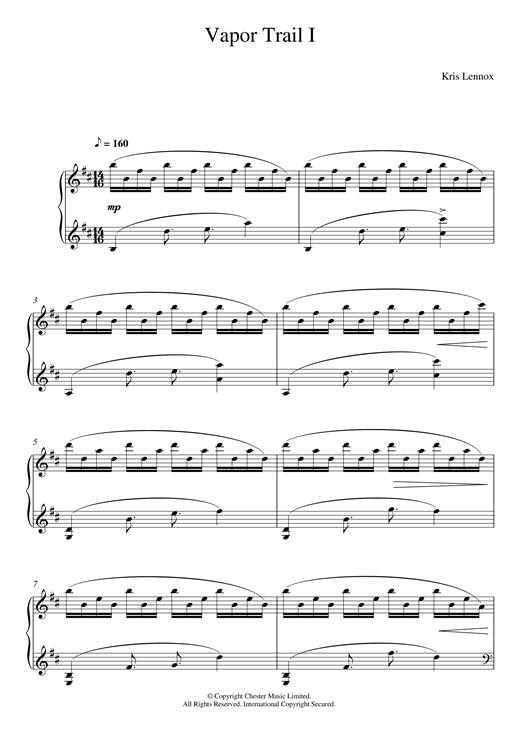 Kris Lennox Vapor Trails I sheet music notes and chords. Download Printable PDF.