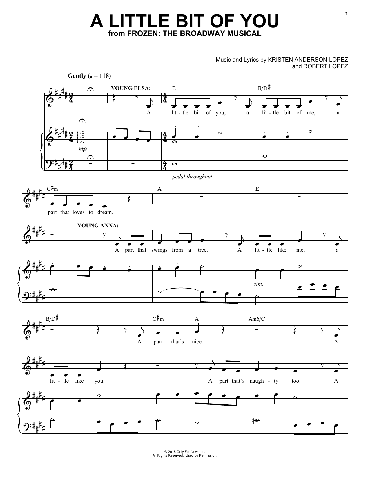 Kristen Anderson-Lopez & Robert Lopez A Little Bit Of You (from Frozen: The Broadway Musical) sheet music notes and chords. Download Printable PDF.